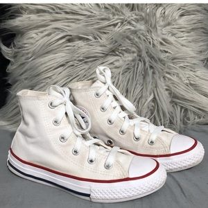 Little girls white high top Converse 13